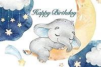 新しい10x7ftビニールお誕生日おめでとう写真背景漫画リトルエレファント動物三日月雲スターブルー写真背景ベビーシャワー新生児ポートレート写真装飾スタジオ小道具