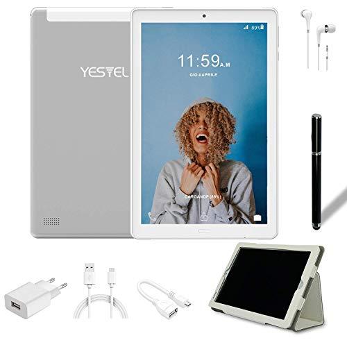 Tablet 10.1 pollici YESTEL Tablet Android 8.1 con 3 GB di RAM + 32 GB di ROM - Chiamata doppia SIM / WiFi | Bluetooth | GPS, 8000mAH con Cover-Argento
