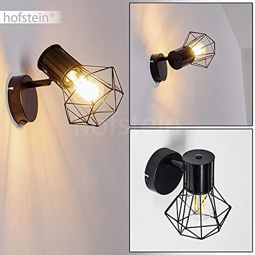 Wandleuchte Bardhaman, verstellbare Wandlampe aus Metall in Schwarz, 1-flammig, 1 x E27 max. 40 Watt, Retro/Vintage Wandspot in Gitter-Optik mit An-/Ausschalter am Gehäuse, LED geeignet