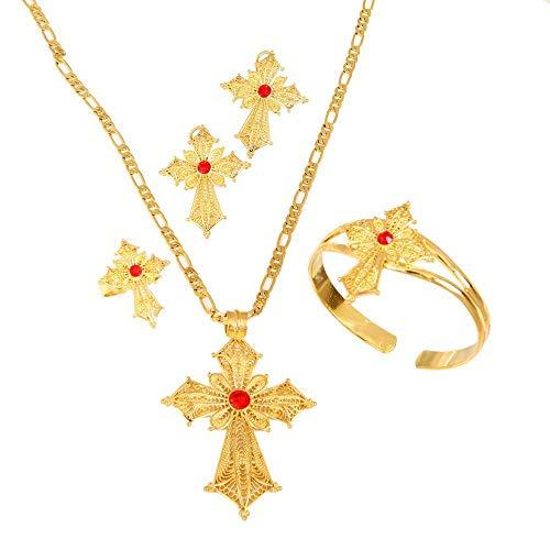 Etiopía Piedra Color Cruz conjunto de joyas oro colorido collar pendientes anillo pulsera Habesha mujeres africanas joyería de boda regalos-verde