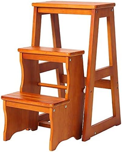 KlapÃleiter Hocker Schritt Hocker Massivholz Kreative Hocker Multifunktionsleiter DREI-Schritt Tragbare Trittleiter Home Kitchen KlapÃleiter (Farbe   braun, Größe   36  56  65CM)