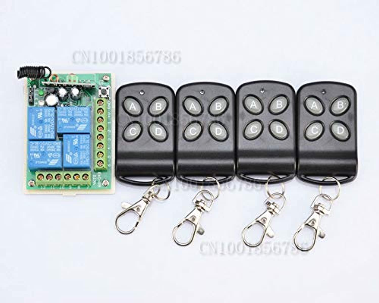 DC12V 4CH RF Wireless Remote Control System 4 Transmitter and 1 Receiver Universal Gate Radio ping