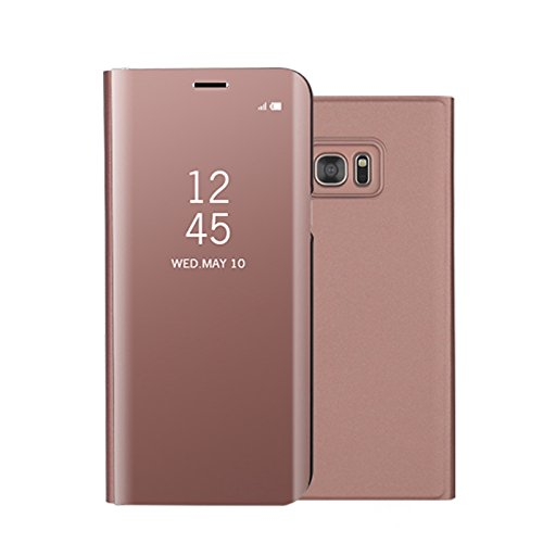 Funda Espejo Enchapado Flip Funda para Samsung Galaxy S7 Edge (Oro Rosa)