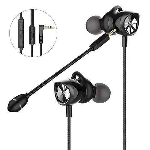 In Ear Gaming Headset Langsdom, Gaming Earphones mit abnehmbaren Mikrofon, 3.5mm Noise Cancelling Gaming Headphones für Computer, Laptop, Handy (Schwarz)