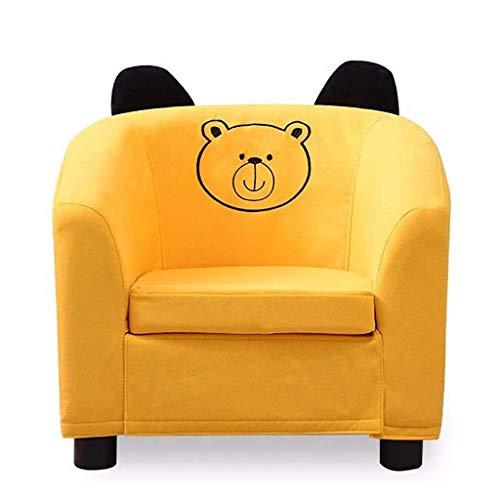WYZQ Silla de sofá de Espuma Animal, Muebles de sillón para niños, Funda de Tela con Tema Puppy 49 × 45 × 44cm Beanbag Infantil Beige Verde Amarillo (A) (A), Juegos de Sala de Estar