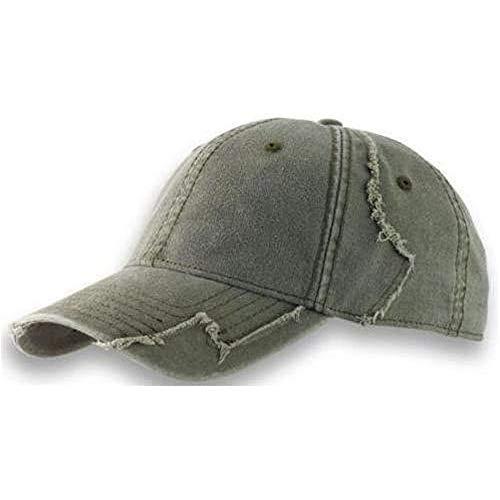 noTrash2003 Baseball Cap aus gewaschener Chino Baumwolle in Vintage (Destroyed/Distressed) Optik mit ausgefranster Patchwork Struktur (Olive)