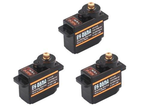 3x Emax ES08MA Metall Micro Servo 12g 0,1s 2,0kg Multiplex Alternative