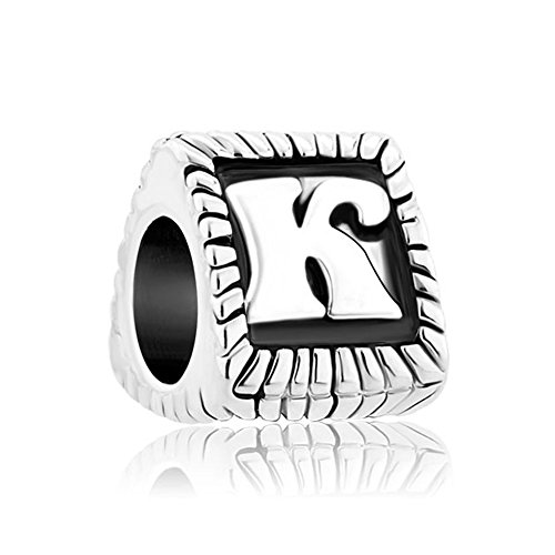 CharmsStory Alphabet Beads K Letter Initial Spacer Silver Plated Charm For Bracelets