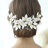 JYDQM Encantadora Flor de Novia Crown Crown Clip Pearls Mujeres Pelo Joyería Accesorios Hecho A Mano Hecho A Mano