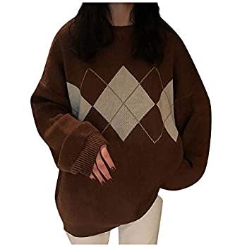 OutTop Chunky Sweaters Geometric Graphic Loose Diamond Stretch Knit Retro Crewneck Pullover Oversized Long Sleeve Tops  Brown Freesize