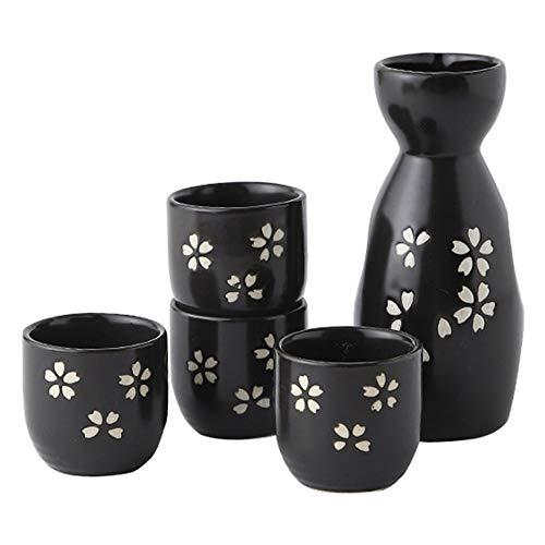 Conjunto de Sake, Juego de Tazas de Sake, Taza de Sake Tradicional, Juego de Sake Japonés de Porcelana, Vasos de Vino de Porcelana Artesanales para Regalos Vacaciones Familiares y Amigos (Negro)