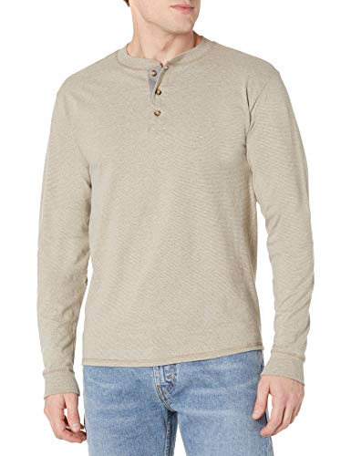 Hanes Men's Long-Sleeve Beefy Henley T-Shirt - X-Large - Pebblestone Heather