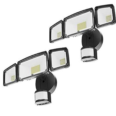 Sunco Lighting 2 Pack 38W LED Flood Light, 5000K Daylight, 3600 LM, 3 Head Black Outdoor Security Light Fixture, IP65 Waterproof, Dusk-to-Dawn Photocell + PIR Motion Activated Sensor - ETL