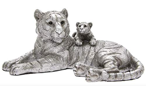 The Leonardo Collection Tiger & Cub Ornament in Rustic Antique Silver Effect Finish