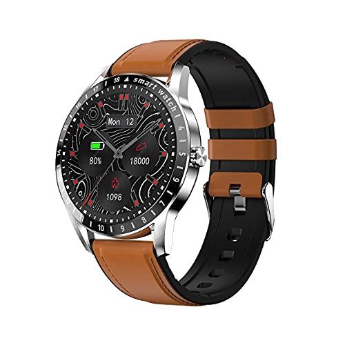 SHUBIAO 2021 Smart Watch, SmartWatch Woman Men Monitor de frecuencia cardíaca, Simple y Elegante Monitoreo de presión Arterial Smartwatch, para iOS Androide (Color : Red)