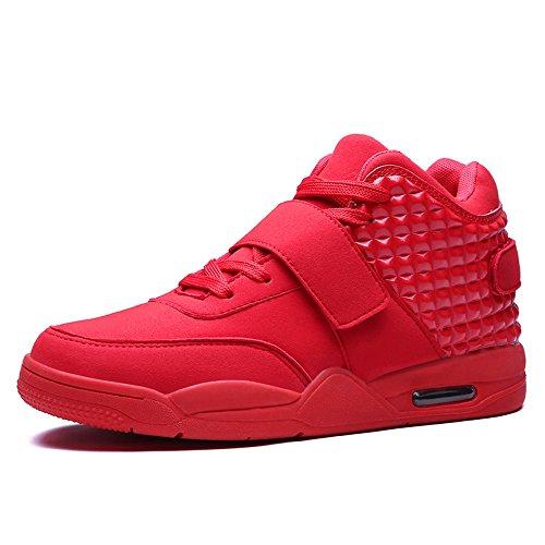 FZUU Männer Hochwertiger Sneaker Basketball Schuh Atmungsaktiv Herren Verschleißfeste Dämpfung Sportschuhe (43, Rot)