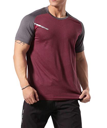 GYMAPE - Camiseta deportiva de manga corta para hombre, transpirable y cómoda,...