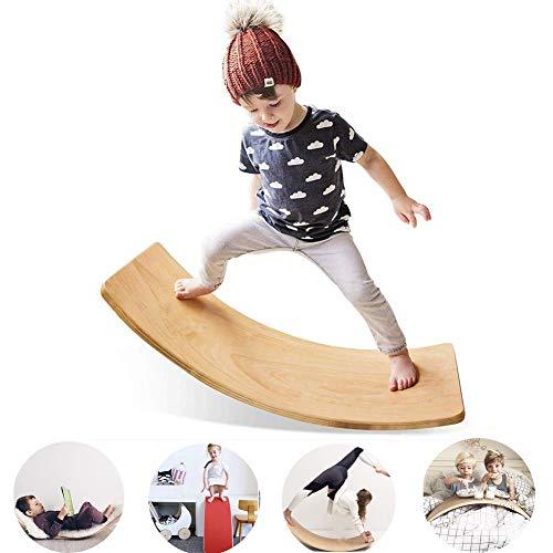 KANGLE De Madera de niños Balance Board para niños Juguetes Waldorf Yoga Junta Curvas Construir un Sentido de Equilibrio Core Strength Training Home Gym Fitness Junta Rocker Wobble
