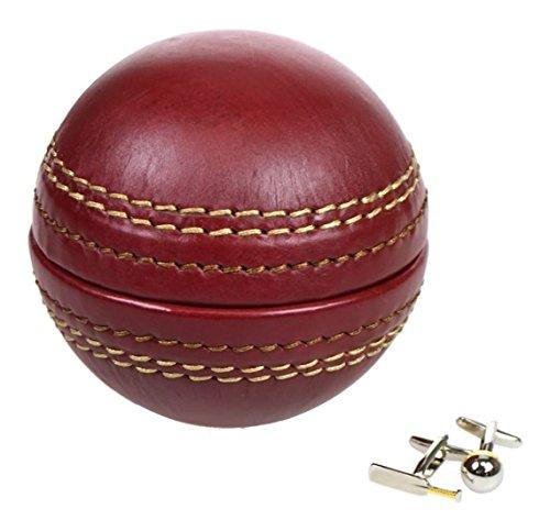 Portland Manschettenknopf-Box und Manschettenknöpfe aus Leder mit Cricket-Ball