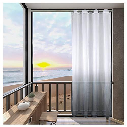 Outdoorvorhänge Farbverlauf Transparenter Voile Vorhang für Balkon 2er Set Vorhang mit Ösen Gardinen Schals für Pavillon Terrasse (Farbe : Grau, Größe : 2 Stück(B137*H213cm))