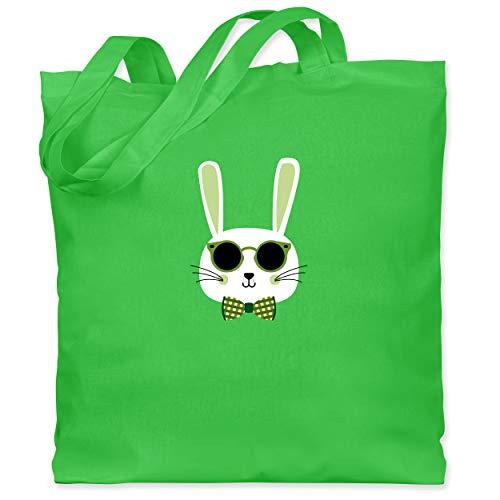 Shirtracer Ostern Kinder - Osterhase Sonnenbrille Grün - Unisize - Hellgrün - Tier - WM101 - Stoffbeutel aus Baumwolle Jutebeutel lange Henkel
