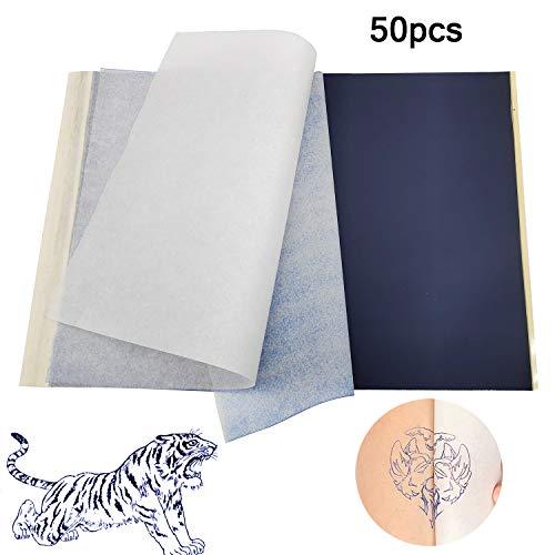 Tattoo Transferpapier, A4 temporäre Tattoo Thermal Schablonenpapier Carbon Thermal Kopierer Papier bedruckbar angepasst (50 Blatt)