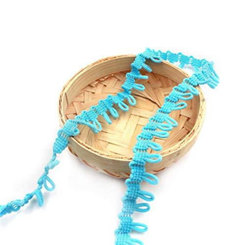 2cm kleurrijke lus elastische stof knop vlecht koord kant rand trim lint geborduurd applique naaien ambachtelijke trouwjurk kleding, 20mm meer blauw, 2 meter