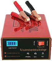 Discerne 12V /24V automatiquement et recharge pour TOUS les types de batteries au plomb et lithium(Voiture ou Moto).Une fois que le mode intelligent du chargeur est complètement chargé, le courant sera automatiquement ajusté à la charge de micro-cour...