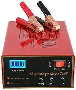 Cargador de batería de 12 V/24 V para coche, inteligente, automático, para batería de litio, plomo, ácido, 140 W, 6 Ah a 105 Ah, con pantalla LED