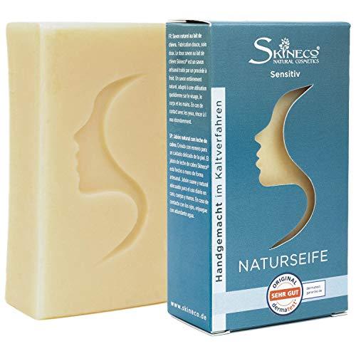 Skineco ZIEGENMILCHSEIFE Sensitiv, Handgemacht im Kaltverfahren (1 Stück)