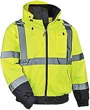 High Visibility Reflective Winter Bomber Jacket, Zip Out Fleece Liner, ANSI Compliant, Ergodyne GloWear 8379, Lime, X-Large