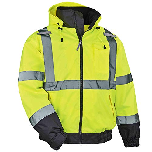 High Visibility Reflective Winter Bomber Jacket, Zip Out Fleece Liner, ANSI Compliant, Ergodyne GloWear 8379, Lime, X-Large