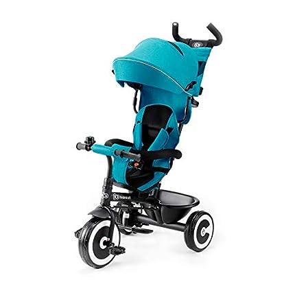 Kinderkraft Triciclo Evolutivo ASTON, Cabina desplegable, Cinturón, 9 Meses a 5 Años, Azul