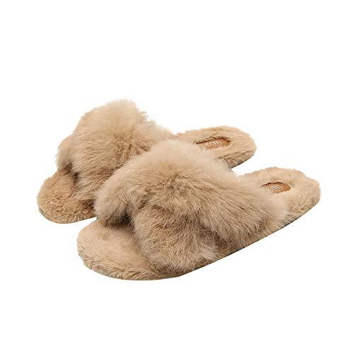 XZDNYDHGX Plüsch Pantoffeln Home rutschfeste Slippers,Winter Frauen Pelz Slipper Kunstpelz Warm Bequem, Weiblich Home Slides Plüsch SchuheKhaki EU 32