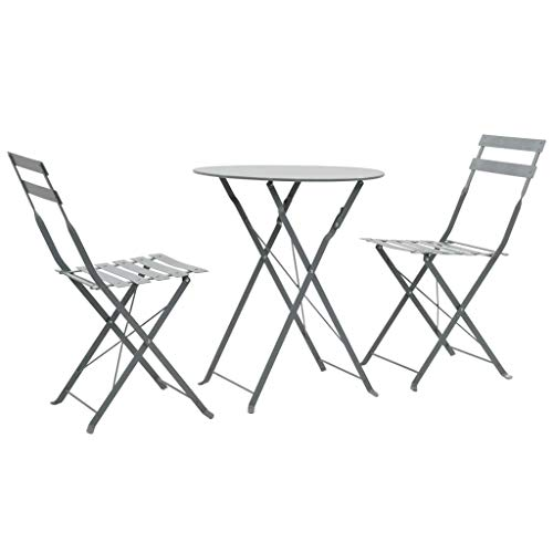 Tidyard 3-TLG. Bistro-Set Stahl Grau Bistro Set 3 Pieces White Steel Dining Set Including 1 Folding Table and 2 Folding Chairs Garden Furniture Balcony Furniture Patio Furniture