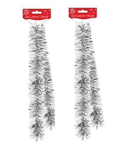 2x Filamentos de 2M Navidad de Lujo Espumillón Decoración con Folio Grueso y Fino Mezcla - Plata