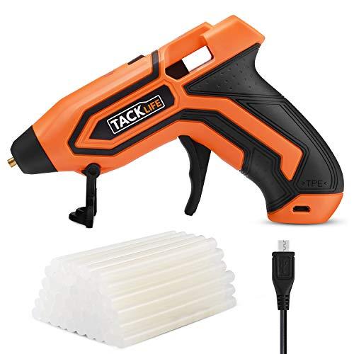 TACKLIFE 3,6V Klebepistole 50 Klebestifte USB Kabel 90cm Lithium Batterie 2600mAh Temperaturanzeige und Akku Automatische Abschaltung PGG01B