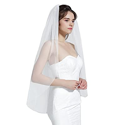Wedding Bridal Veil with Comb 1 Tier Cut Edge Fingertip Length Ivory
