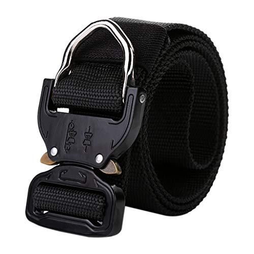 Fine Tactical Belt, Tactical Heavy Duty Waist Belt for Men, Quick-Release Military Style Shooters Nylon Belts Metal Buckle (Black)