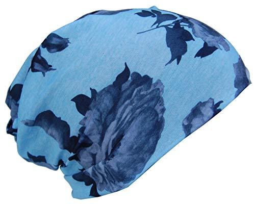 Cool4 MULTIFUNKTIONSTUCH Mundschutz Schlauchtuch Kopftuch Chemo Beanie Schal Mütze Cap KT13AM (Hellblau Grau geblümt)