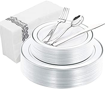 150-Count WDF Silver Rim Plastic Plates with Disposable Hand Napkins