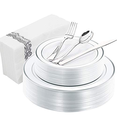 WDF 150PCS Silver Rim Plastic Plates with Disposable Plastic Silverware&Hand Napkins, Plastic Tableware include 25 Dinner Plates,25 Salad Plates,25 Forks, 25 Knives, 25 Spoons,25Disposable Napkins