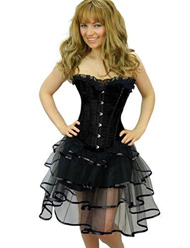 Yummy Bee - Jupe Noire Burlesque Tutu Tulle Longue Froufrous Déguisement Femme - Grande Taille 34 - 52 (Noir, 42-44)