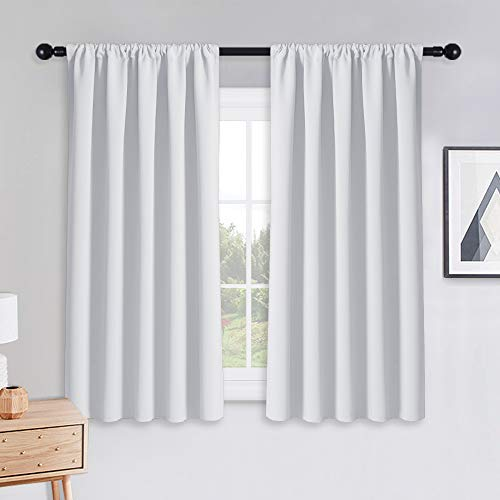PONY DANCE Pure White Curtains - Window Treatments Home Decor Thermal Insulated Curtain Drapes Light Filter Energy Efficient Low Shading Effect for Bedroom & Kitchen, 52 W x 54 L, 2 Pieces