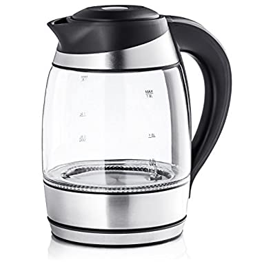 Chef's Star 1.7L Cordless Electric Kettle Glass Tea, Coffee Pot with LED Light, Fast Boiling, Hot Water Borosilicate Glass BPA-Free with Auto Shut-Off And Boil-Dry Protection