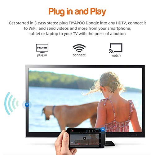 FIYAPOO 4K Miracast Dongle WiFi Display, Wireless HDMI Adapter kompatibel mit iPhone & iPad to TV, Netflix Kompatibel mit Android Smartphone Samsung Huawei etc (2020 Upgrade)