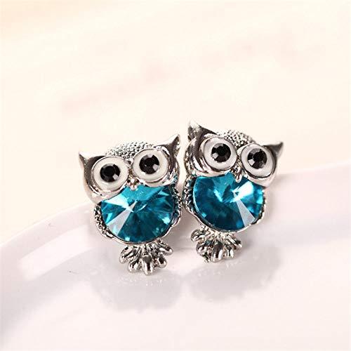 HUYV Pendientes para Mujer,Pendientes De Botón De Acero Inoxidable con Forma De Búho De Cristal Azul Cielo De Moda para Regalo De Joyería De Cumpleaños De Navidad Hombres Niñas
