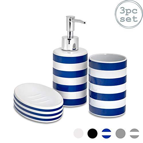 Harbour Housewares Set di Accessori per Il Bagno - Dispenser per Sapone, piattino saponetta e Porta-spazzolini - Navy a Righe