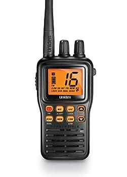 Uniden MHS75 Waterproof Handheld 2-Way VHF Marine radio Submersible Selectable 1/2.5/5 Watt Transmit Power All USA/International and Canadian Marine Channels - Color Black