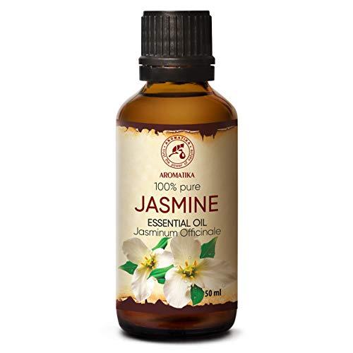 Aceite Esencial de Jazmín - 50ml - Jasminum Officinale - Aceites Esenciales para Difusor - Lámpara Aromática - Buen Sueño - Calmante - Relajación - Cuidado Piel - Aceite Sensual